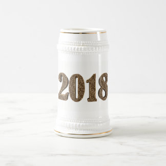 Happy New Year 2018 Number Elegant Gold Typography Beer Stein