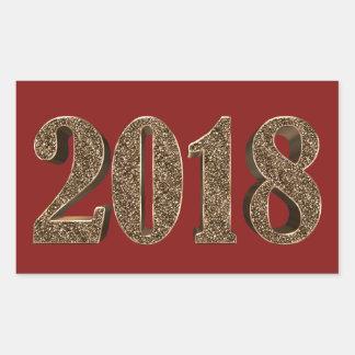 Happy New Year 2018 Number Elegant Gold Typography Rectangular Sticker