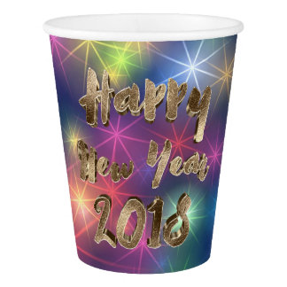 Happy New Year 2018 Rainbow Stars Typography Paper Cup