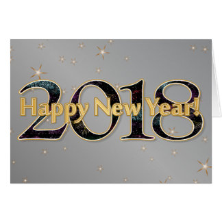Happy New Year 2018 Stars Fireworks Silver Gold Card