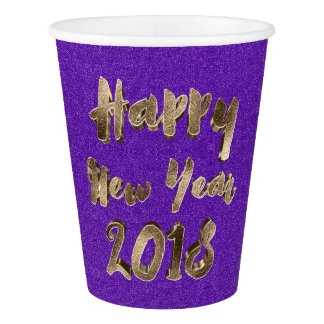 Happy New Year 2018 Typography Purple Gold Elegant Paper Cup