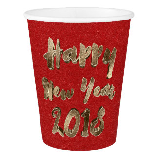 Happy New Year 2018 Typography Red Gold Elegant Paper Cup