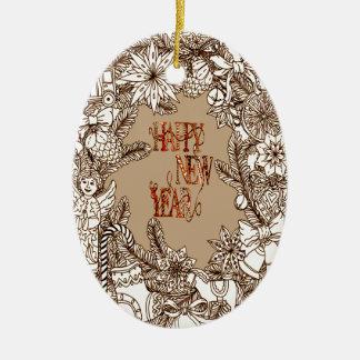 Happy New Year 3 Ceramic Oval Decoration