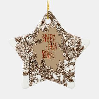 Happy New Year 3 Ceramic Star Decoration