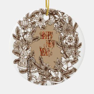Happy New Year 3 Round Ceramic Decoration