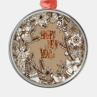 Happy New Year 3 Silver-Colored Round Decoration