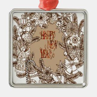 Happy New Year 3 Silver-Colored Square Decoration