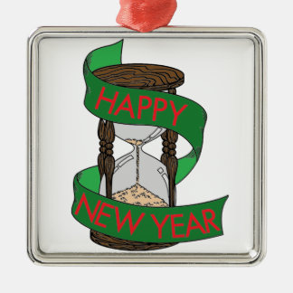 Happy New Year 5 Silver-Colored Square Decoration
