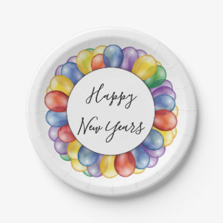 Happy New Year Balloons Paper Plate