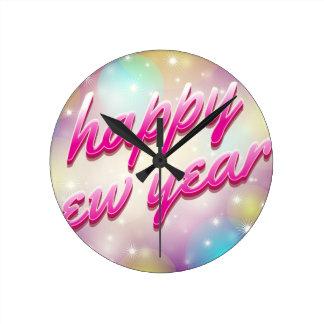 Happy-New-Year Balloons Round Clock