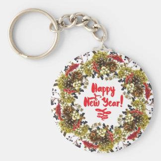 Happy New Year Basic Round Button Key Ring