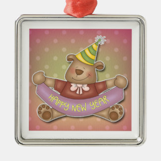 Happy New Year Bear Silver-Colored Square Decoration