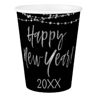 Happy New Year Black and Silver Foil String Lights Paper Cup