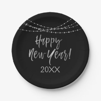 Happy New Year Black and Silver Foil String Lights Paper Plate