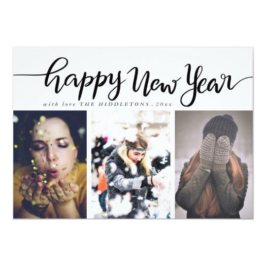 Happy New Year Black Script Three Photo Holiday Card
