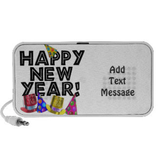 Happy New Year - Black Text with Party Hats Travelling Speakers