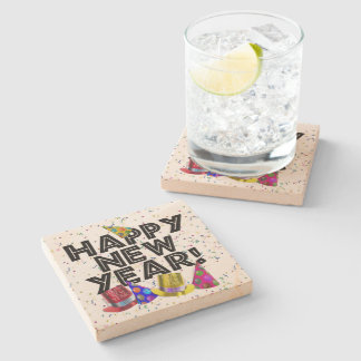 Happy New Year - Black Text with Party Hats Stone Coaster