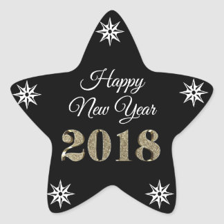 Happy New Year Black White Gold Star Sticker