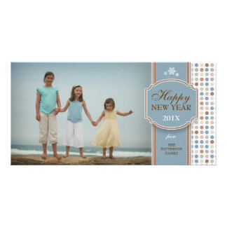 Happy New Year Blue Brown White Fun Photo Card