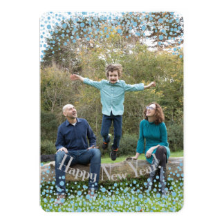 Happy New Year Blue Confetti Card