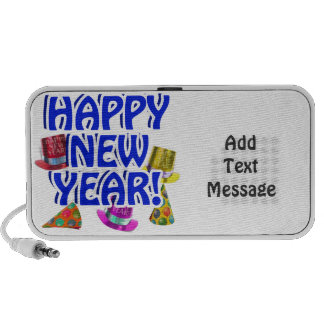 Happy New Year - Blue Text with Party Hats iPod Speakers