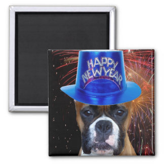 Happy New Year Boxer dog magnet