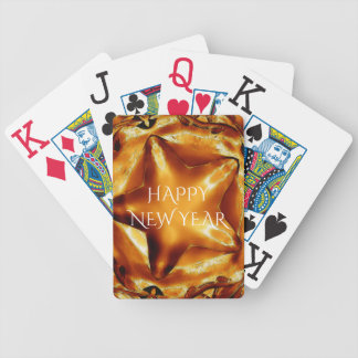 Happy New Year Brown Gold Copper Elegant Star Bicycle Playing Cards