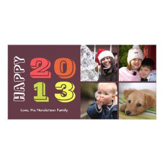 Happy new year by year 4 family photo grid navy custom photo card