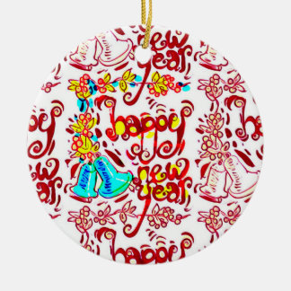 happy new year cartoon style handwriting dessign ceramic ornament