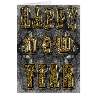 Happy new year carved gold greeting card