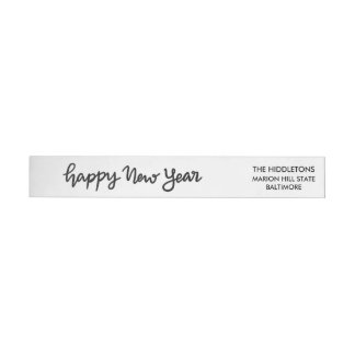 Happy New Year Casual Handwritten Script Wrap Around Label