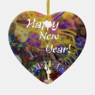 Happy New Year celebration Ceramic Heart Decoration