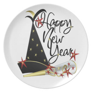 Happy New Year Celebration Pate Dinner Plate