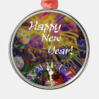 Happy New Year celebration Silver-Colored Round Decoration