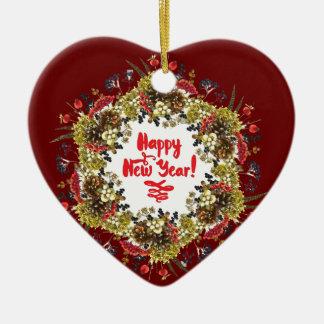 Happy New Year Ceramic Heart Decoration
