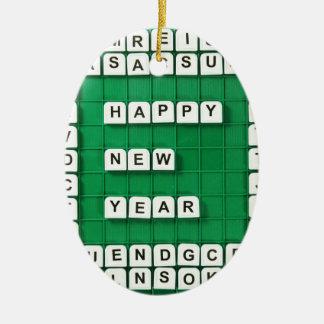 Happy New Year! Ceramic Oval Decoration
