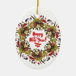 Happy New Year Ceramic Oval Decoration