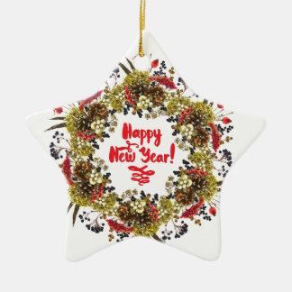 Happy New Year Ceramic Star Decoration