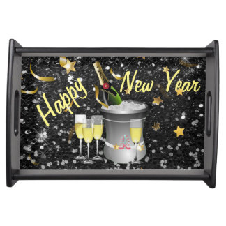 Happy New Year Champagne Black Faux Glitter Serving Tray