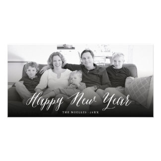 Happy New Year Cheers Simple Script Photo Card