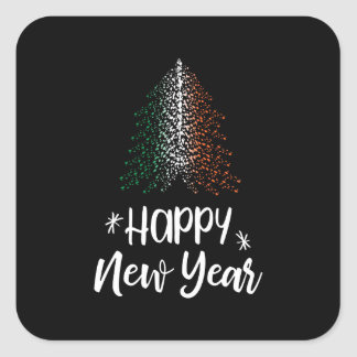 Happy New Year Christmas tree with Irish flag Square Sticker