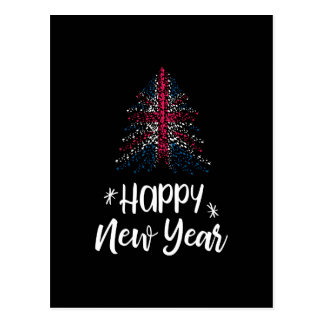 Happy New Year Christmas tree with UK flag Postcard