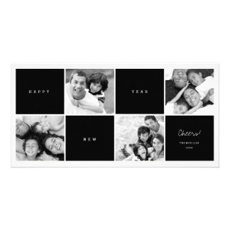 Happy New Year Color Blocks Photo Collage Greeting Custom Photo Card