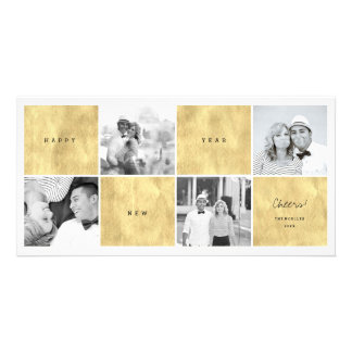 Happy New Year Color Blocks Photo Collage Greeting Personalised Photo Card