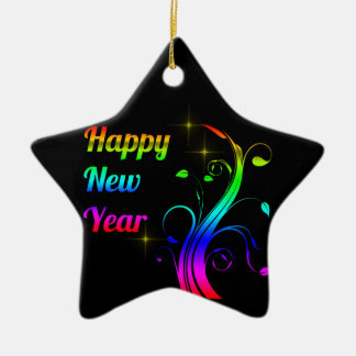 Happy New Year colorful Ceramic Star Decoration