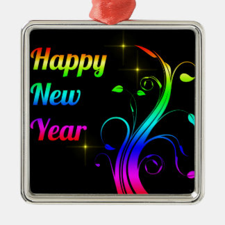 Happy New Year colorful Silver-Colored Square Decoration