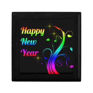 Happy New Year colorful Small Square Gift Box