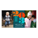 Happy new year count down navy funky greeting photo card