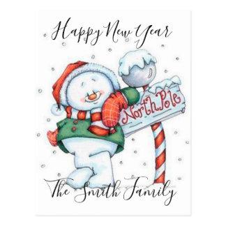 Happy New Year Cute Snowman Postcard