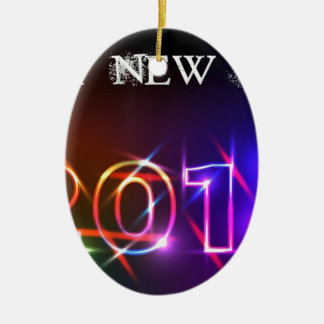Happy New Year Double-Sided Oval Ceramic Christmas Ornament